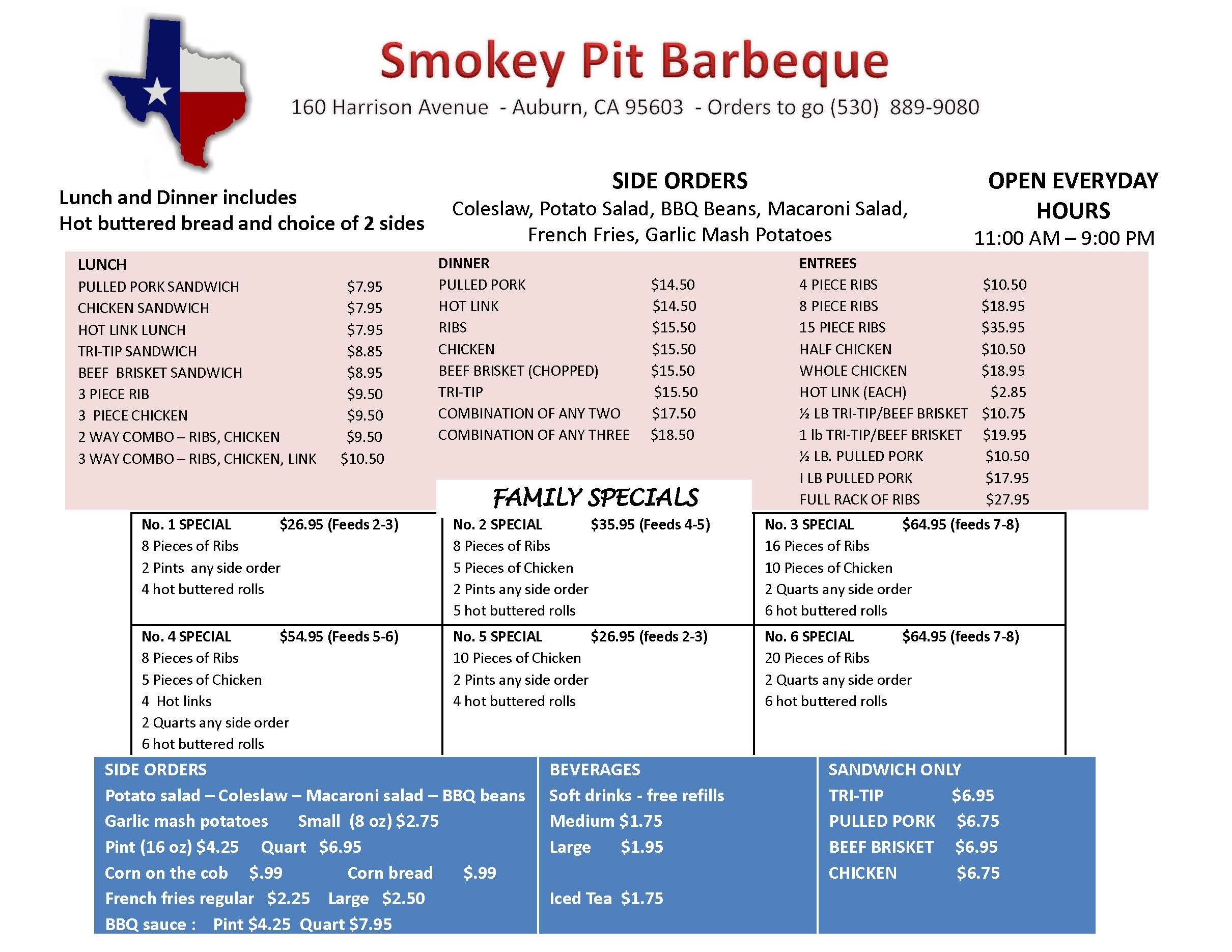 Smokey Pit BBQ Menu
